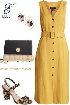 Flavour of the week is yellow - Yellow summer dress for the work that can take you to drinks directly from the office. Modest Outfits, Classy Outfits, Casual Outfits, Fashion Outfits, Rock Outfits, Emo Outfits, Office Outfits, Night Outfits, School Outfits