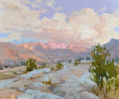 """""""Up She Rises,"""" by Lori Putnam, oil on linen, 18 x 24 in. A view of Sailor Lake, located between Sierra National Forest and Kings Canyon National Park Paintings I Love, Beautiful Paintings, Landscape Art, Landscape Paintings, Graphic Design Company, Southwest Art, Western Art, American Artists, Painting Inspiration"""