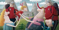 Piotr Socha Magazine Illustration, Illustration Art, Naive, Childrens Books, Illustrators, Fairy Tales, Concept Art, Dinosaur Stuffed Animal, Animation