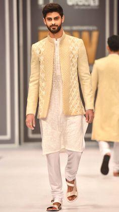 High Fashion Pakistan — Deepak and Fahad, Fashion Pakistan Week,. Men Ethnic Wear India, India Fashion Men, Mens Indian Wear, Indian Men Fashion, Mens Fashion Suits, High Fashion, Wedding Dress For Boys, Wedding Dresses Men Indian, Formal Dresses For Men