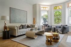 Transitional Living Room by Tanya Capaldo Designs