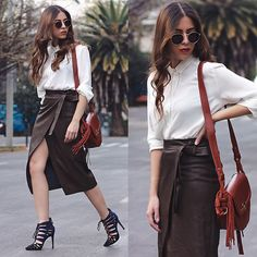 Get The Look, Leather Skirt, Fashion Beauty, About Me Blog, Street Style, Elegant, Detail, Formal, Chic