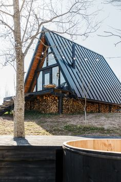 Perfect place to escape the city. The Black A-Frame and Cozy Cottage. Closer to nature. Tiny House Cabin, Tiny House Plans, Small Summer House, A Frame Cabin Plans, Triangle House, Homestead House, Sims House Design, Building A Container Home, Cabins And Cottages