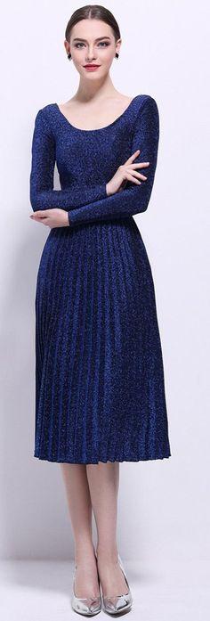 Blue Scoop Neck Belted Dress