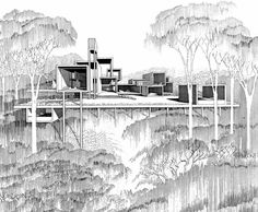 architecturesketch:    Amazing drawing from 1965 by Paul Rudolph.   Callahan Residence, Birmingham, Alabama.   Taken from: http://ceciliahalling.com/