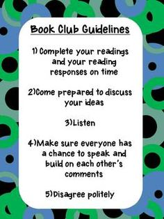 This is a one pager! -A poster containing 5 guidelines for students to refer to, when working in their book club groups. Kids Book Club, Book Club Books, Book Clubs, Teaching Time, Teaching Ideas, Library Books, Kids Library, Club Poster, Reading Club