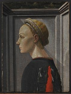 Portrait of a Woman  Italian (Florentine) Painter, ca. 1440–50     Medium:      Tempera on wood  Dimensions:      16 1/4 x 12 1/4 in. (41.3 x 31.1 cm)  Classification:      Paintings  Credit Line:      The Friedsam Collection, Bequest of Michael Friedsam, 1931  Accession Number:      32.100.98    This artwork is currently on display in Gallery 604