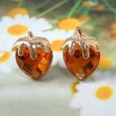 Strawberry Earrings Walnut - One Size