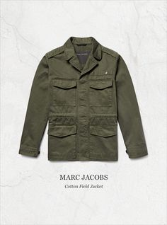 Marc Jacobs' army-green field jacket is inspired by vintage military styles. Unrivalled in both practicality and style, this utilitarian design is cut from breathable cotton and kitted with multiple pockets to keep your essentials close to hand. Wear it to add a rugged element to everyday looks. Shop on #MRPORTER: http://mr-p.co/OP4qcn