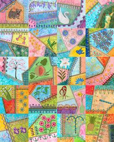 Embroidered crazy quilt --- I am SO gonna make this.