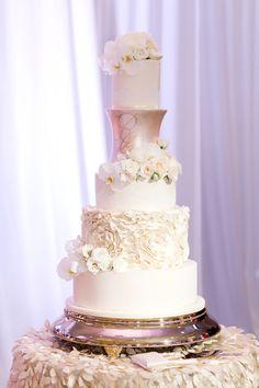 Blush & Gold Wedding Cake // Blush & White Luxe Miami Wedding via TheELD.com