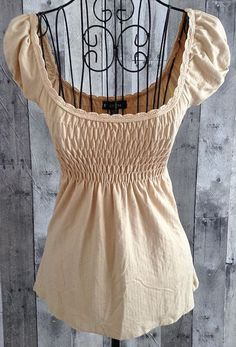 bebe Stretch Top Blouse Smocked  Baby Doll Beige Textured Size XS #bebe #Top