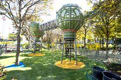 Jardin des Halles, kindertuin (2012) bij de Hallen, aan de kant van de Bourse du Commerce. Alleen voor kinderen van 7-11 jaar