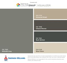 I found these colors with ColorSnap® Visualizer for iPhone by Sherwin-Williams: Manitou Blue (SW Salute (SW Intricate Ivory (SW Turkish Coffee (SW Dromedary Camel (SW Paint Color App, Paint Color Schemes, Room Paint Colors, Exterior Paint Colors, Exterior House Colors, Wall Colors, Accent Colors, Exterior Trim, White Living Room Paint
