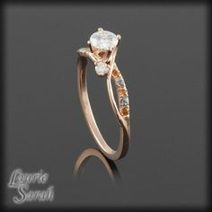 14kt Rose Gold Moissanite Engagement Ring with Diamonds, Yellow Topaz, and Blue Topaz