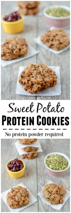 No protein powder required for these Sweet Potato Protein Cookies! They're gluten-free, made with real food ingredients and packed with protein and fiber. Enjoy them for breakfast or an afternoon snac