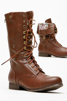 Fold Over Floral Print Combat Boot