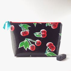 Cherries! WATERPROOF Makeup Pouch Cosmetic Case Travel Bag Made in Michigan by lovesaraxoxo