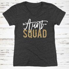 Aunt Squad Relaxed V-Neck Tee Auntie Shirt Aunt by BeforeTheIDos #beforetheidos #auntsquad #babyshower