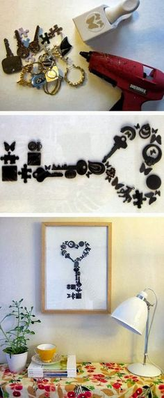 diy meaningful handmade wall art - collect a variety of knick knacks (puzzle pieces, old keys, beads, buttons, old jewelry or charms, etc.), spray paint them black, hot glue to a canvas or white board, and frame and hang.