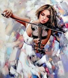 Gunin Alexander Spirit of Art Figure Painting, Painting & Drawing, Violin Art, Violin Music, Russian Art, Belle Photo, Art Oil, Figurative Art, Female Art