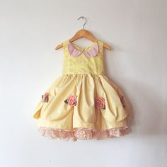 Princess Belle Dress with Petticoat and Felt Flower Details