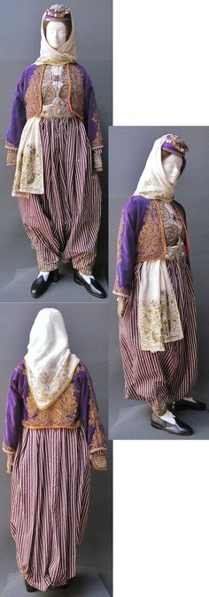 Traditional festive costume from the Marmara region.  Dating: 1900-1925.  The trousers and long-sleeved vest in striped silk, and the velvet jacket are embroidered ('golden' thread in 'kordon tutturma' technique/applied cord).  (Kavak Folklor Ekibi&Costume Collection-Antwerpen/Belgium).