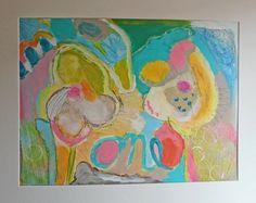 Blumen-Paar Acrylbild auf Karton Ölkreide Frühling von SuseundMuse