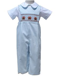 2861f6fd3 Gingerbread Boy Christmas Smocked Longall – Carousel Wear Little Boy  Outfits, Baby Boy Outfits,