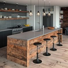 Add an industrial-chic touch to any #kitchen by mixing #CaesarstoneUS Sleek Concrete countertops with rustic woods and metals. (scheduled via http://www.tailwindapp.com?utm_source=pinterest&utm_medium=twpin&utm_content=post95953761&utm_campaign=scheduler_attribution)