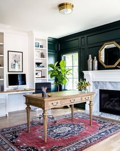 Pale oak floors and crisp white paint offset a deep green accent wall in this home office designed by Studio McGee. Home Office Design, Home Office Decor, Office Furniture, Cool Furniture, House Design, Home Decor, Furniture Design, Furniture Ideas, Office Designs