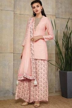 Pink Color Chanderi With Neck Hand Work Salwar Kameez By Payal Singhal only from www.thpehnava.com