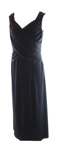 B Slim NEW Black V-Neck Surplice Women's Size Large PL Petite Sheath Dress $64