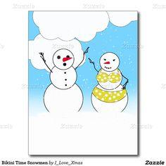 #Bikini Time Snowmen Postcard #I_Love_Xmas #Snowman #SnowmenYearRound #Zazzle -