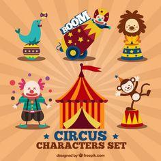 Conjunto de personajes de circo