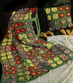 Vintage Flower Garden Afghan Pattern--free--would be beautiful done with soft cream or bone background and assorted muted pastel flowers