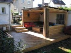 Pallet porch on pinterest pallet porch swings pallets - Terrasse exterieur en palette ...