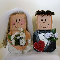 Outdoor Garden Art-Wedding Gift-Custom Bride and Groom Patio People-Personalized with your colors, flowers and details