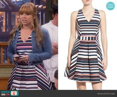 Kristin's multi-colored striped v-neck dress on Last Man Standing.  Outfit Details: https://wornontv.net/56466/ #LastManStanding