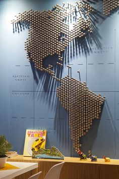 Rioow Hostel, Rio de Janeiro.  Best idea for a empty wall. I would do it with bottle caps.