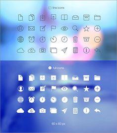 フラットアイコンの進化形、美しいソリッドなラインを使ったアイコン素材 -Tab Bar Icons iOS 7