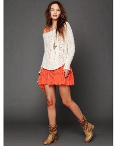 56edb9414d1 Lyst - Free People Voile and Lace Trapeze Slip in Orange Sweater Over Dress