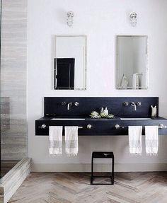 Black stone vanity