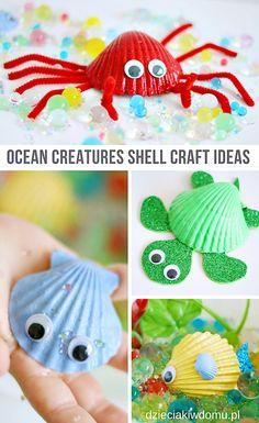 ocean cratures shell craft ideas / morskie zwierząka z muszelek - praca techniczna dla dzieci #kidscrafts Crafts For Kids To Make, Kids Crafts, Mermaid Parties, Fun Cupcakes, Kids Church, Shell Crafts, Valentines For Kids, Summer Crafts, School Fun