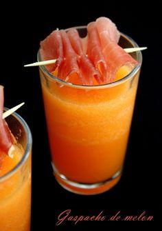 Gaspacho de melon et jambon de pays. Avec les derniers melons du jardin ! Recette prête en 5min chrono !