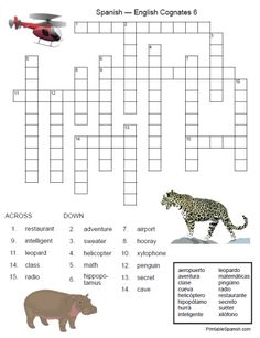 Printable Spanish FREEBIE of the Day: Spanish-English Cognates Crossword #6 from PrintableSpanish.com