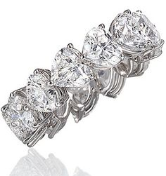 6.70ct Heart shape ETERNITY Ring  Diamonds wedding  band 18kt white gold G-VS. Not sure if ugly or not.