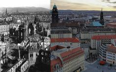 Downtown Dresden. After the bombing and 60 years later