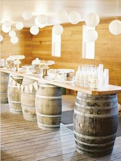 Repurpose barrels for bar or standing tables... in a big red barn... uggghh a girl can dream. Wedding Country, Wedding Rustic, Fall Wedding, Wedding Reception, Wedding Buffet Food, Trendy Wedding, Chic Wedding, Wedding Table, Wedding Themes