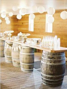 | Repurposed barrels for bar or tables |